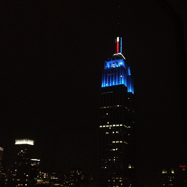 Empire State Building in blue