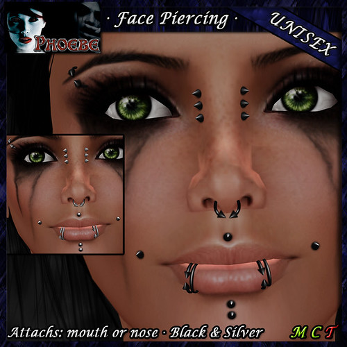 *P* Unisex Face Piercings ~Serie Q1~ Black & Silver