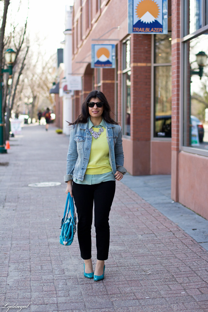 yellow sweater, mint blouse, denim jacket-1.jpg