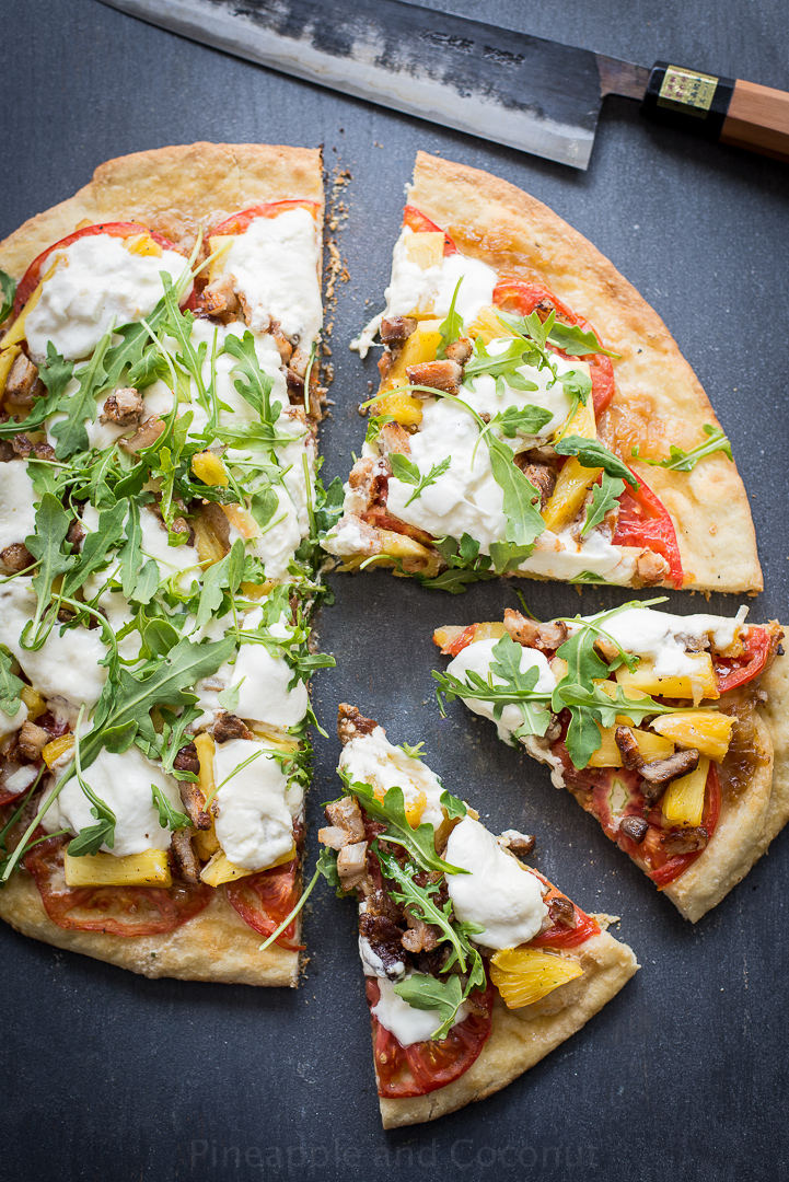 Grilled Pineapple, Crispy Pork Belly, Burrata and Arugula Pizza www.pineappleandcoconut.com #pizzaweek