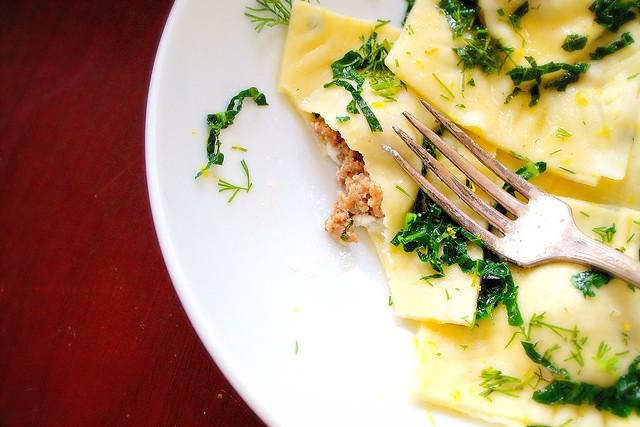 Gluten Free Ravioli in a Lemon Dill Sauce