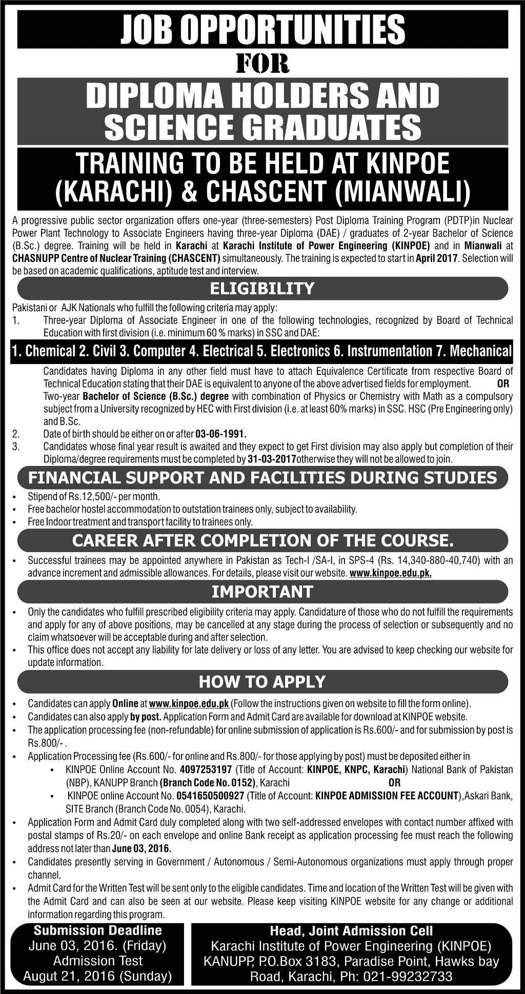 Career Opportunities for Diploma Holders at KINPOE and CHASCENT