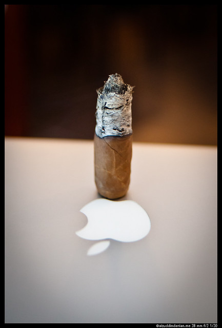 An apple and a cigar