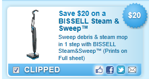 $20.00 Off Bissell Steam & Sweep Coupon