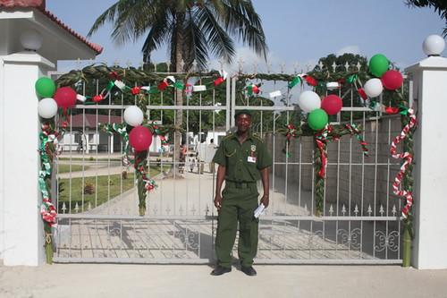 Our askari greets the visitors