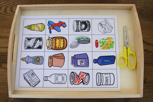 Recycle Sorting Activity - Cutting Tray