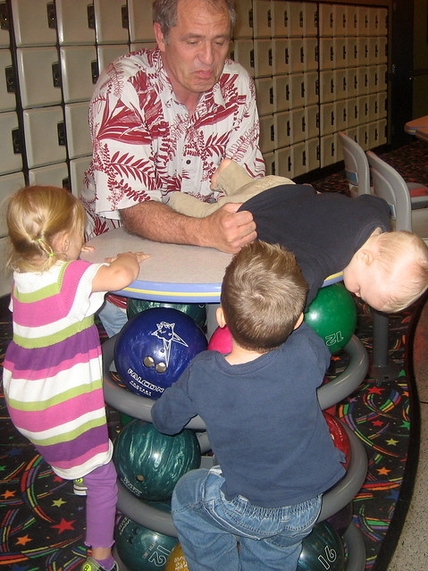 Grandpa Tom watching the kids