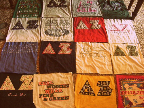 The beginnings of a tshirt quilt