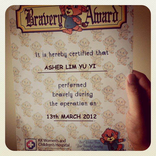 13 Mar - Asher gets a certificate for bravery