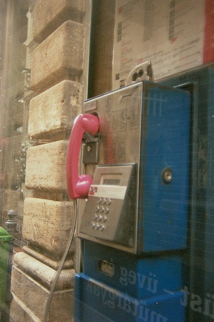 Budapest, city, streets, tour, trip, journey, Hungary,  snow, winter, spring, 35mm film photography,  Kodak MAX 400 expired,  telephone, pink, payphone, phone booth, blue