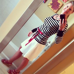 Tuesday's outfit of the day: Round 2 with eyelet skirt from Target.  Striped top by Pouf, red sandals by BOC.  Red ribbon tied at waist.  Jewelry Charming Charlie, Target