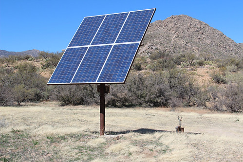 The largest solar pump on Anvil Ranch pumps seven to eight gallons of water per minute.