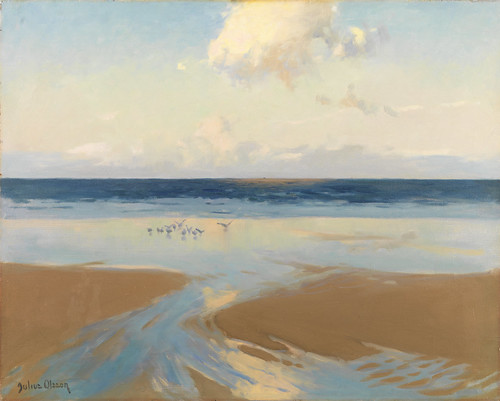 Julius Olsson - Gulls at Low Water, Carbis Bay, Cornwall  by Gandalf's Gallery