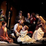 The company rests on their journey to California in the Huntington Theatre Company's production of <i>How Shakespeare Won the West</i>, playing at the BU Theatre. Part of the 2008-2009 season. PhotoT Charles Erickson