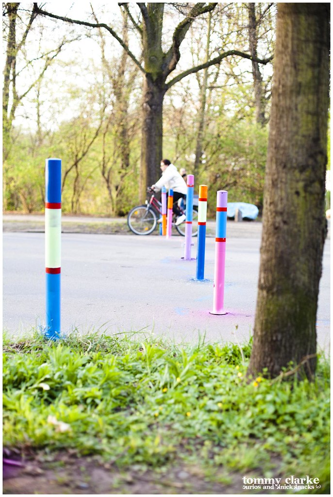 posts and cyclist