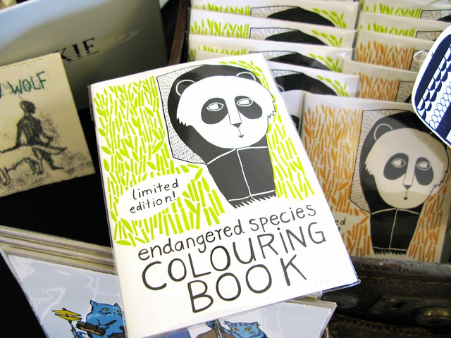 Endangered Species colouring book by Mina Braun and the collective WE MADE THESE, at The Market, April 28th 2012 | Emma Lamb
