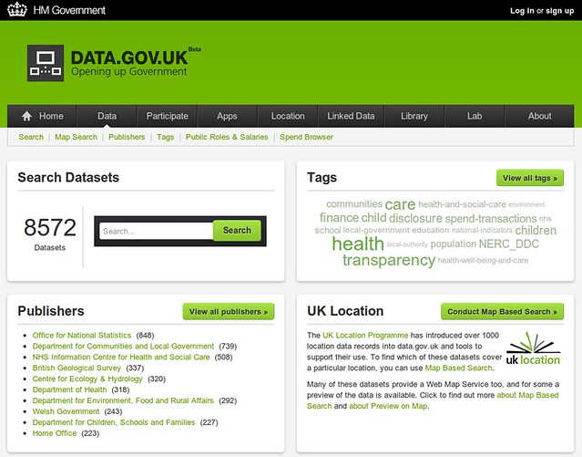 Data.Gov.UK data home page