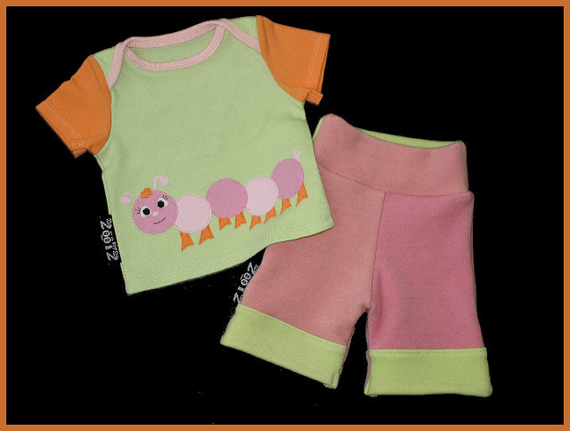 Caterpillar Cutie Girls Lap Tee/Wool Interlock Set 3 Months