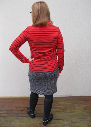 Renfrew top and patternless tube skirt