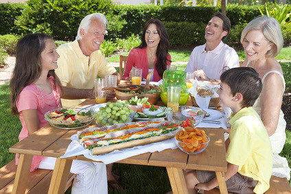 Parents Grandparents Children Family Healthy Eating Outside