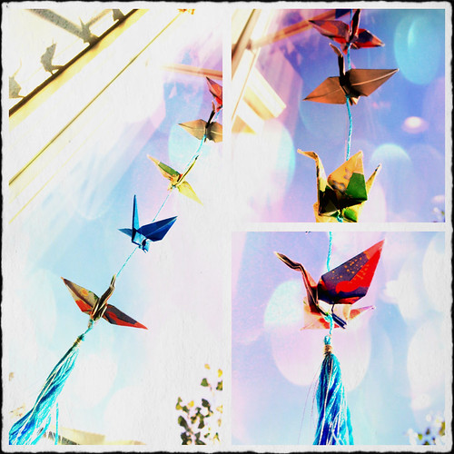 Origami Crane Mobile Collage