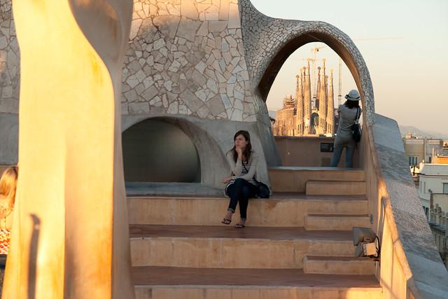 La Sagrada Familia from the roof of Casa Mila, Barcelona