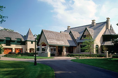Lake Country estate home front exterior with covered drive.