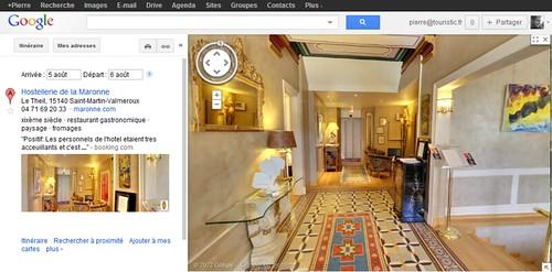 Google Maps avec streetview interieure Hostellerie de la Maronne