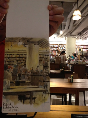 Sketching at Kubrick Bookshop Cafe 晚飯後畫油麻地Kubrick