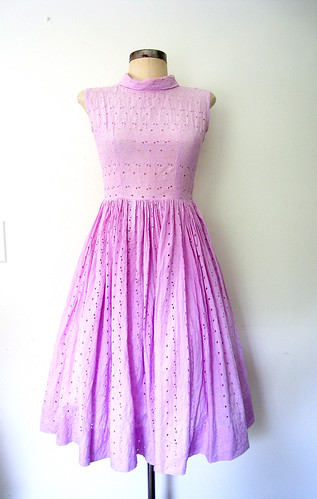 Pale Heliotrope Cotton Eyelet Dress, vintage 50s
