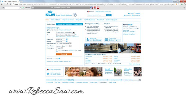 KLM site screenshot