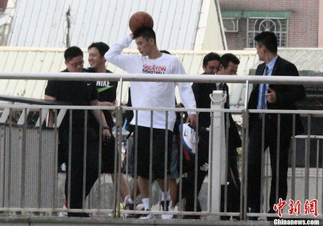 August 3rd, 2012 - Jeremy Lin prepares to do a basketball workout at a secondary school in Taipei