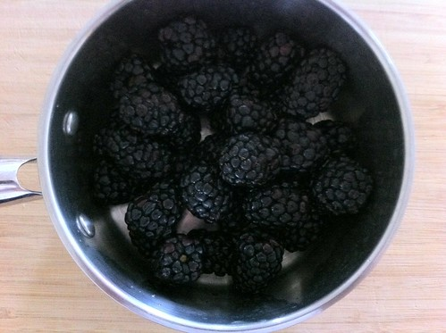 Blackberries Added to Small Pot