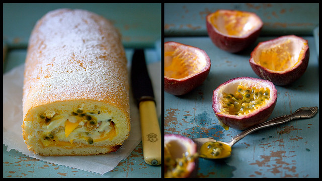 passion fruit & mango roulade