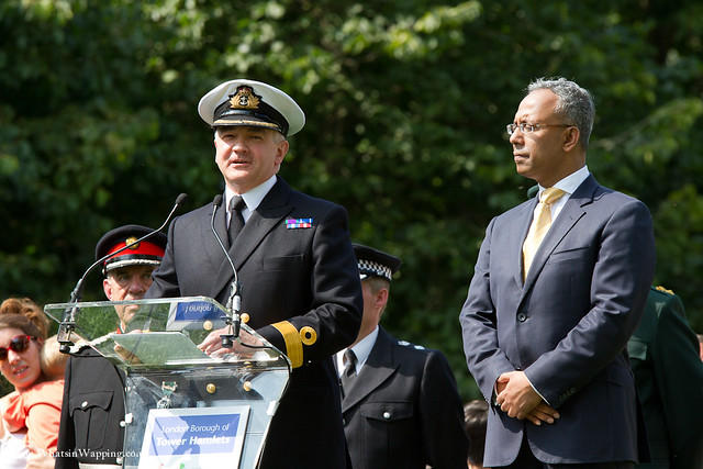 Speeches were given by Commodore Martin Atherton (RN) and LBTH Mayor Lutfur Rahmen