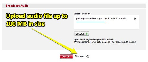 Upload Audio File to iPadio