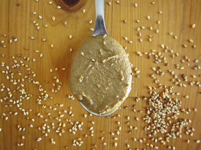 a spoonful of homemade tahini