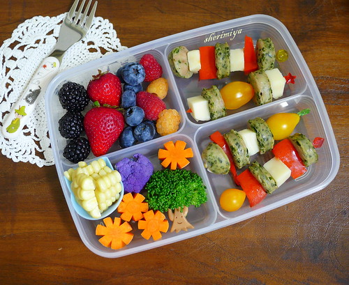 Sausage Pepper Cheese Skewers Bento by sherimiya ♥