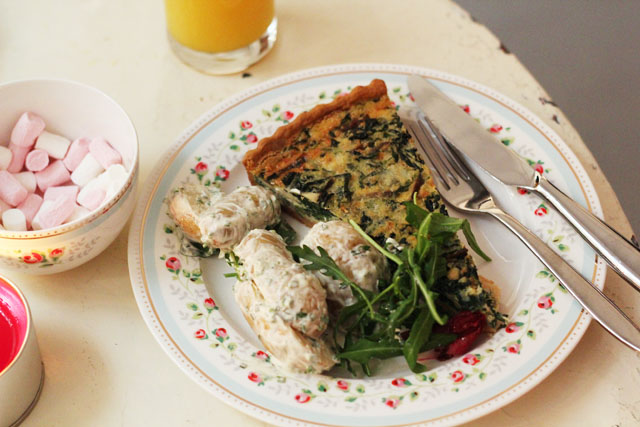 Cheese and Spinach tart on Cath Kidston crockery