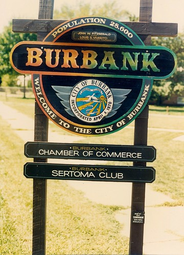 The official Village of Burbank sign.  Burbank Illinois.  September 1988. by Eddie from Chicago