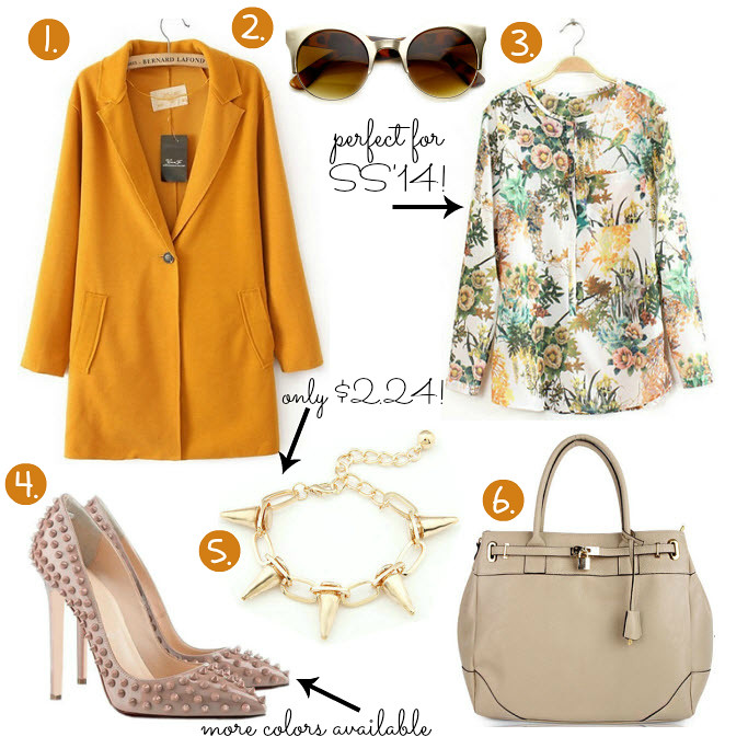 Cheap Friday- Ebay bargains #25.  Maddie's guide on Ebay clothing, shoes and accessories. This weeks Ebay bargains include items like bright orange coat, floral, tropical print blouse, rivet nude color heels, beige tote bag, rivet bracelet in gold, futuristic shape deisgner sunglasses
