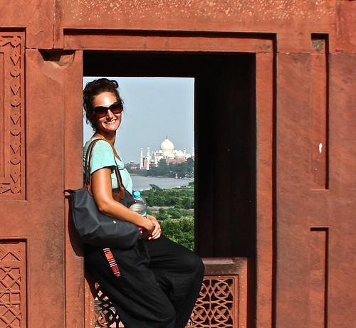 Lina in Agra fort, Taj Mahal in the distance