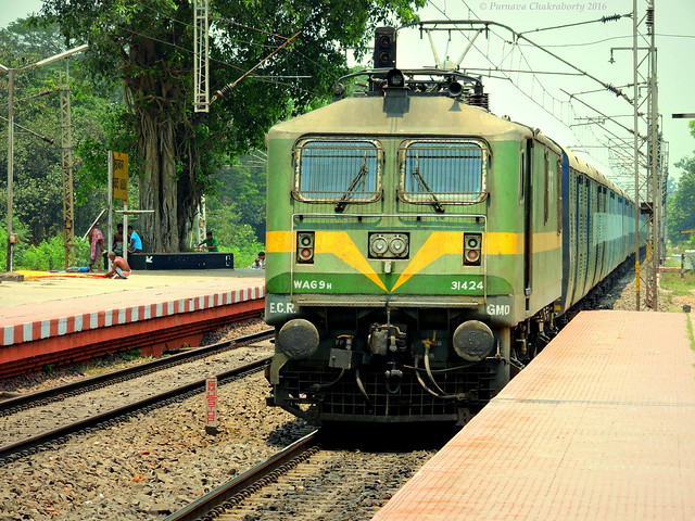 Gleaming in golden rays ! Strongest & heaviest electric locomotive of IR at the helm of parcel van !
