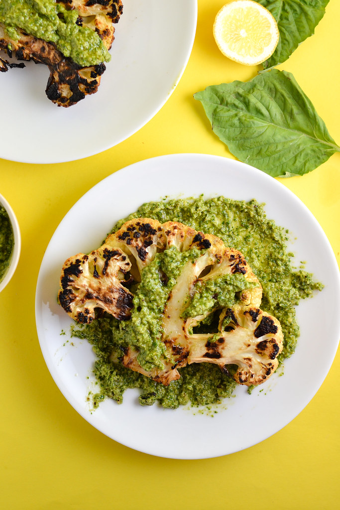 Grilled Cauliflower Steaks Smothered in Pesto | Things I Made Today