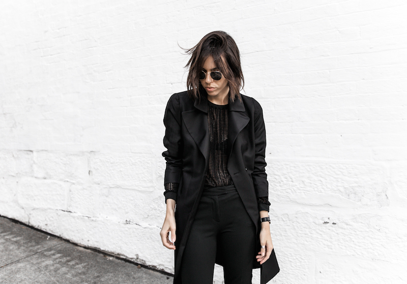 all black reiss modern legacy fashion blogger Gucci Princetown fur loafers Proenza Schouler PS11 mini outfit workwear 90s  (1 of 9)