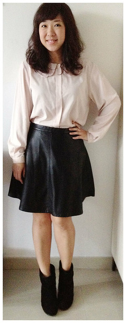 Monki Leather Skirt, Vintage Top