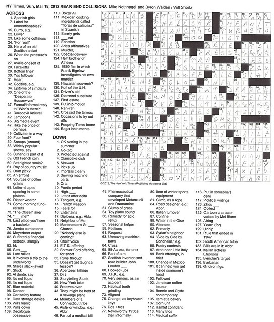 NYT Sunday Puzzle - March 18, 2012