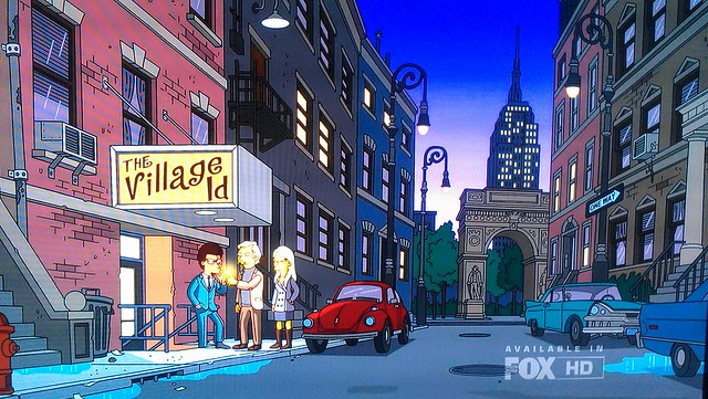 """The Village and Washington Square Park on The Simpsons episode """"The Ten-Per-Cent Solution"""""""