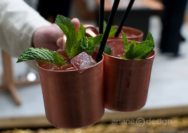 Moscow Mule: Russian vodka, ginger beer, angostura bitters, lime juice, mint