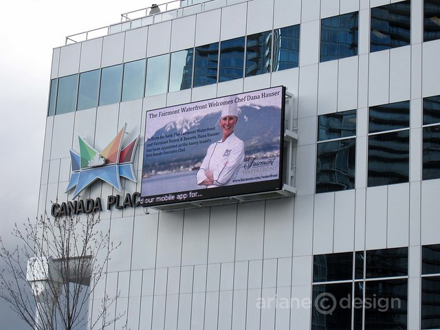 Dana Hauser welcome sign, Canada Place